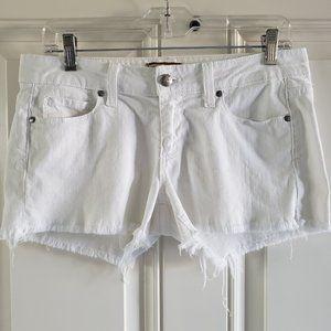 PAIGE Cut off Frayed Mid Rise White Denim Shorts